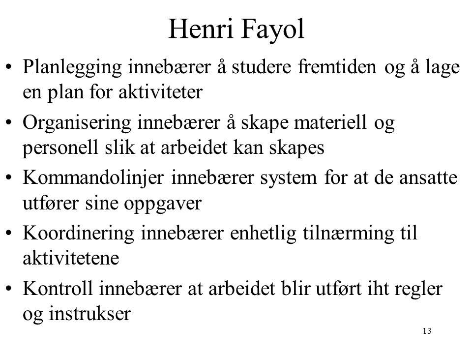 13 Henri Fayol Planlegging innebærer å studere fremtiden og å lage en plan for aktiviteter Organisering innebærer å skape materiell og personell slik