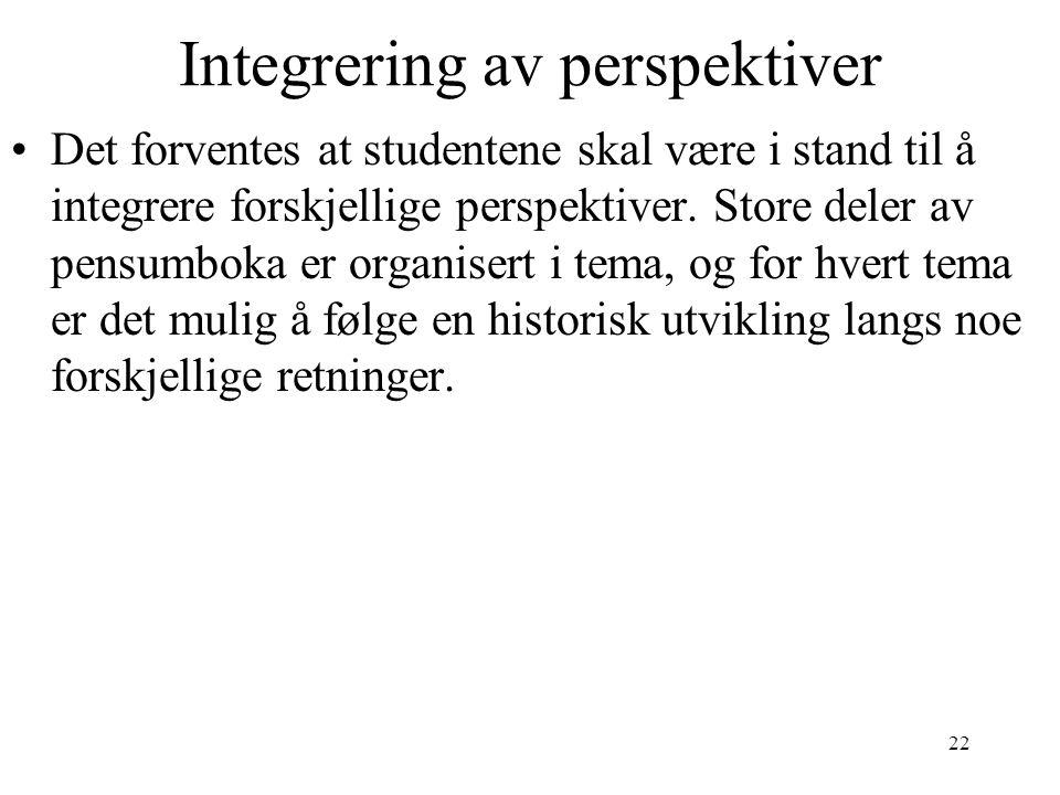 22 Integrering av perspektiver Det forventes at studentene skal være i stand til å integrere forskjellige perspektiver. Store deler av pensumboka er o