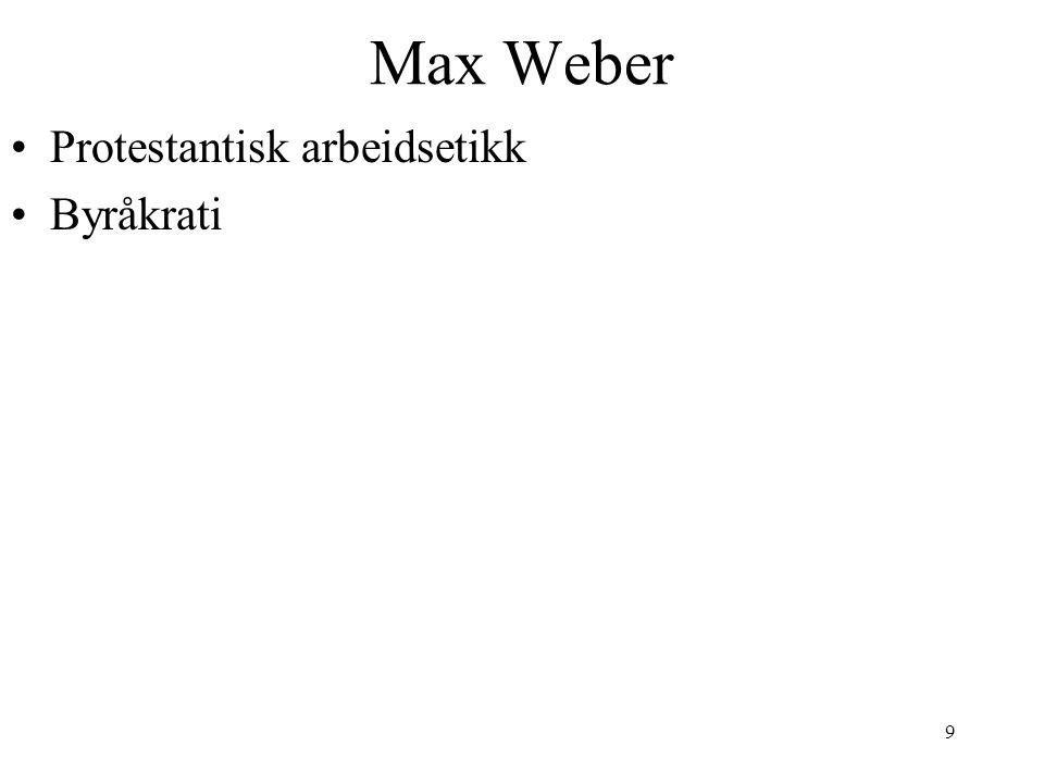 9 Max Weber Protestantisk arbeidsetikk Byråkrati