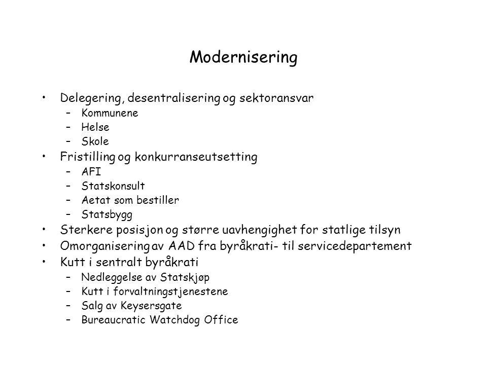 Modernisering Delegering, desentralisering og sektoransvar –Kommunene –Helse –Skole Fristilling og konkurranseutsetting –AFI –Statskonsult –Aetat som