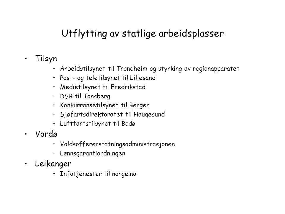 Utflytting av statlige arbeidsplasser Tilsyn Arbeidstilsynet til Trondheim og styrking av regionapparatet Post- og teletilsynet til Lillesand Medietil