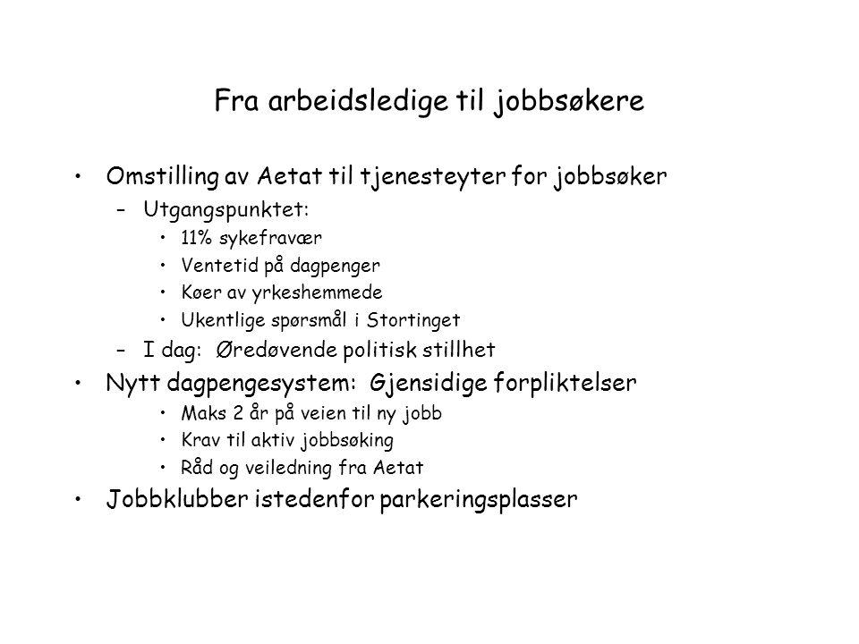 Fra arbeidsledige til jobbsøkere Omstilling av Aetat til tjenesteyter for jobbsøker –Utgangspunktet: 11% sykefravær Ventetid på dagpenger Køer av yrke