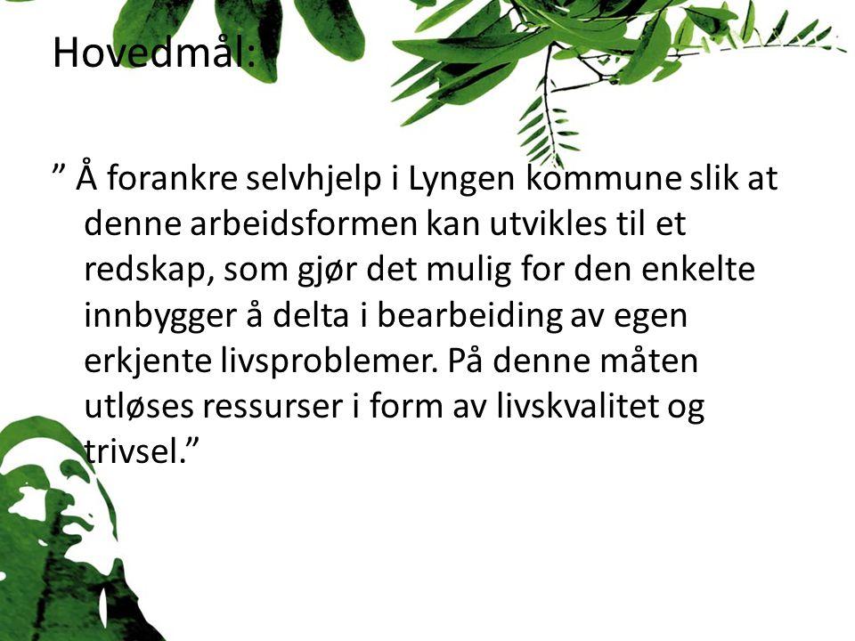 Hovedmål: Å forankre selvhjelp i Lyngen kommune slik at denne arbeidsformen kan utvikles til et redskap, som gjør det mulig for den enkelte innbygger å delta i bearbeiding av egen erkjente livsproblemer.