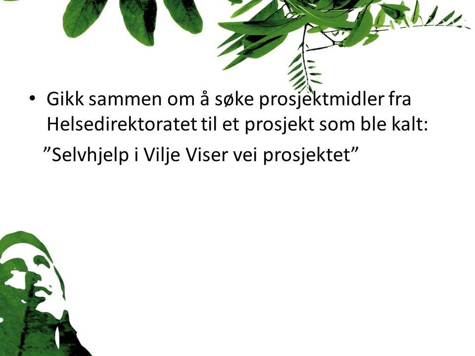 """Gikk sammen om å søke prosjektmidler fra Helsedirektoratet til et prosjekt som ble kalt: """"Selvhjelp i Vilje Viser vei prosjektet"""""""