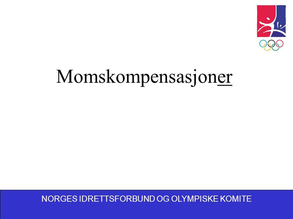NORGES IDRETTSFORBUND OG OLYMPISKE KOMITE To forskjellige kompensasjonsordninger Moms på tjenester – kompensasjonsordning for 2004 Fradragsrett for inngående merverdiavgift – anlegg og utstyr