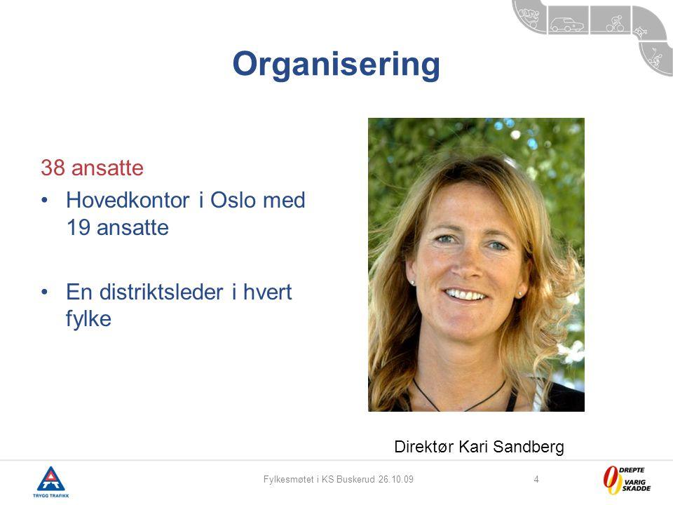 Fylkesmøtet i KS Buskerud 26.10.094 Organisering 38 ansatte Hovedkontor i Oslo med 19 ansatte En distriktsleder i hvert fylke Direktør Kari Sandberg