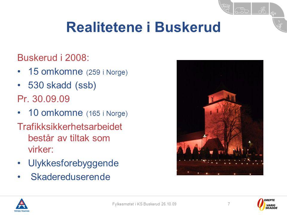 Fylkesmøtet i KS Buskerud 26.10.097 Realitetene i Buskerud Buskerud i 2008: 15 omkomne (259 i Norge) 530 skadd (ssb) Pr. 30.09.09 10 omkomne (165 i No