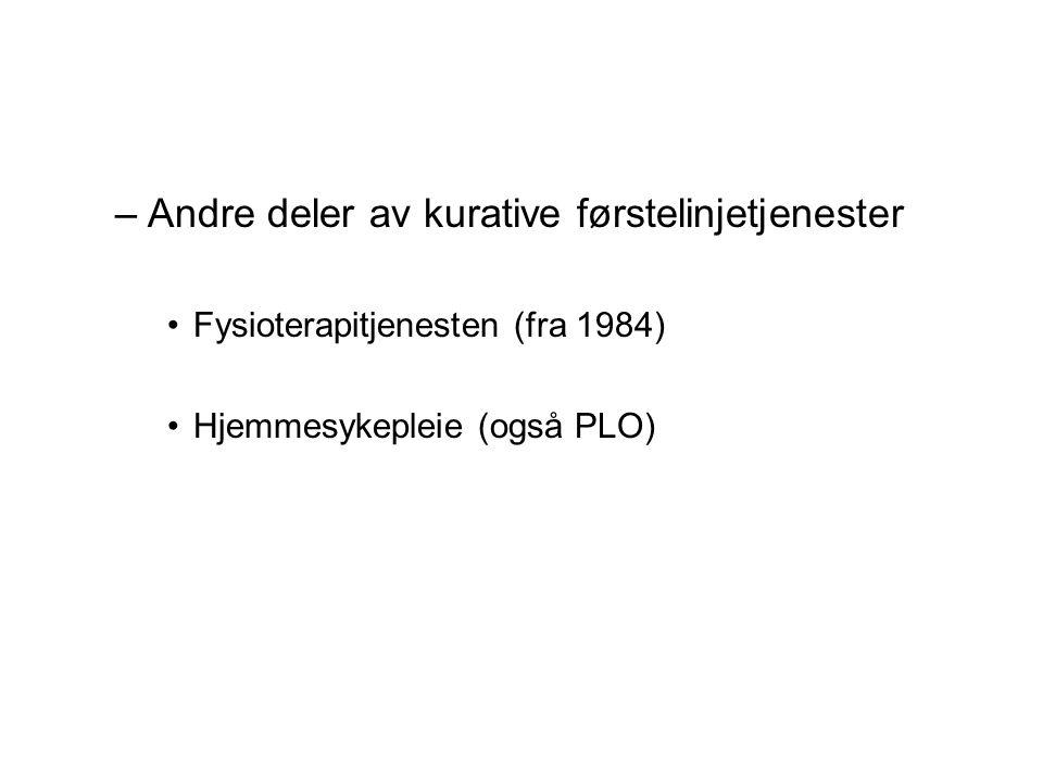 –Andre deler av kurative førstelinjetjenester Fysioterapitjenesten (fra 1984) Hjemmesykepleie (også PLO)