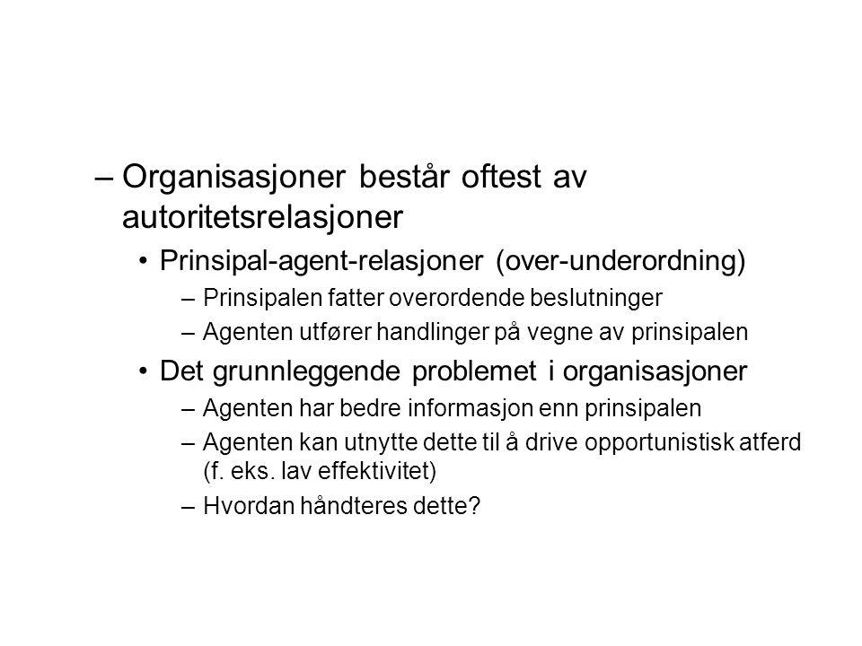 –Organisasjoner består oftest av autoritetsrelasjoner Prinsipal-agent-relasjoner (over-underordning) –Prinsipalen fatter overordende beslutninger –Age