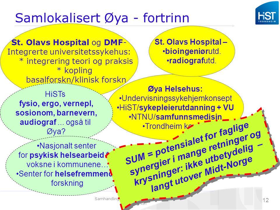 Samhandlingskonferanse 27.04.09_Arnulf Omdal_HiST 12 Samlokalisert Øya - fortrinn Øya Helsehus: Undervisningssykehjemkonsept HiST/sykepleierutdanning + VU NTNU/samfunnsmedisin Trondheim komm.