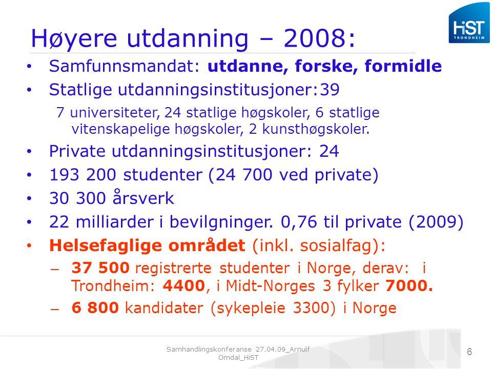 Samhandlingskonferanse 27.04.09_Arnulf Omdal_HiST 6 Høyere utdanning – 2008: Samfunnsmandat: utdanne, forske, formidle Statlige utdanningsinstitusjoner:39 7 universiteter, 24 statlige høgskoler, 6 statlige vitenskapelige høgskoler, 2 kunsthøgskoler.