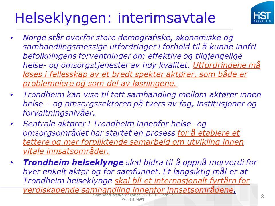 Samhandlingskonferanse 27.04.09_Arnulf Omdal_HiST 8 Helseklyngen: interimsavtale Norge står overfor store demografiske, økonomiske og samhandlingsmessige utfordringer i forhold til å kunne innfri befolkningens forventninger om effektive og tilgjengelige helse- og omsorgstjenester av høy kvalitet.