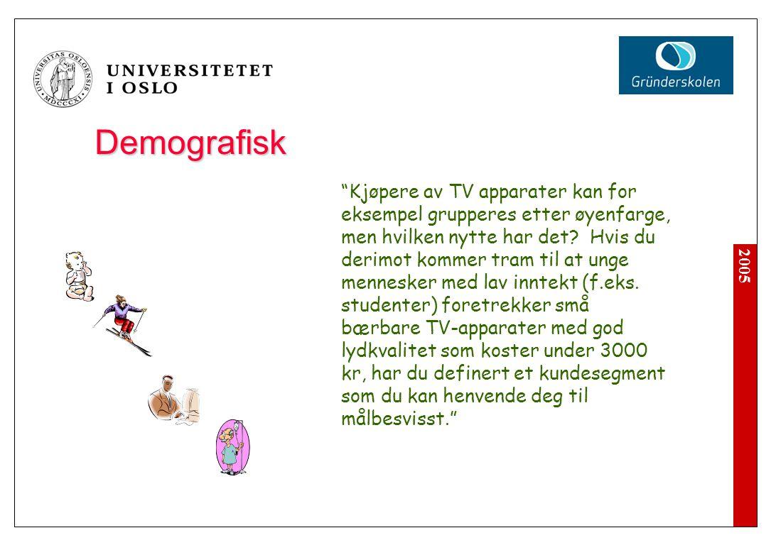 """2005 Demografisk """"Kjøpere av TV apparater kan for eksempel grupperes etter øyenfarge, men hvilken nytte har det? Hvis du derimot kommer tram til at un"""