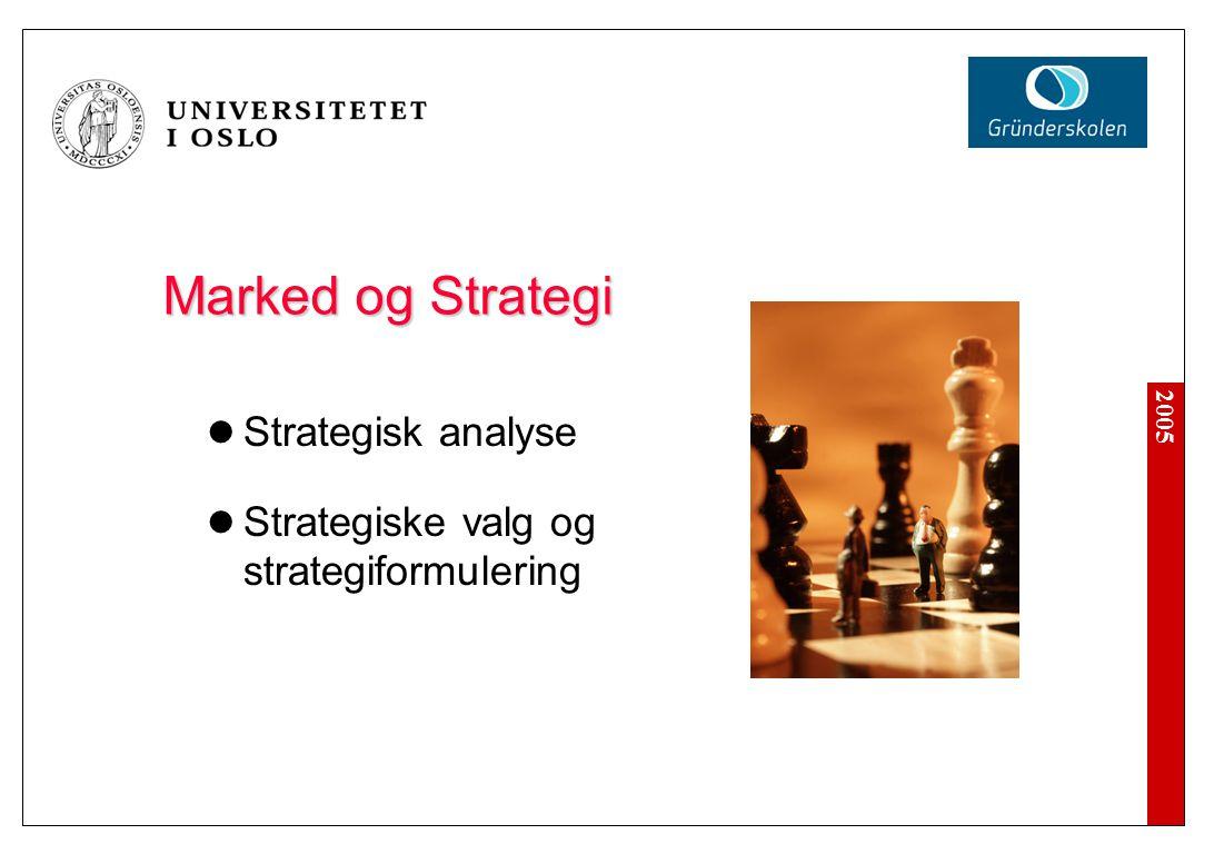 2005 Noen Begreper Strategi Viktige beslutninger som påvirker den langsiktige retningen bedriften går i Hvilke produkter tilbyr vi.