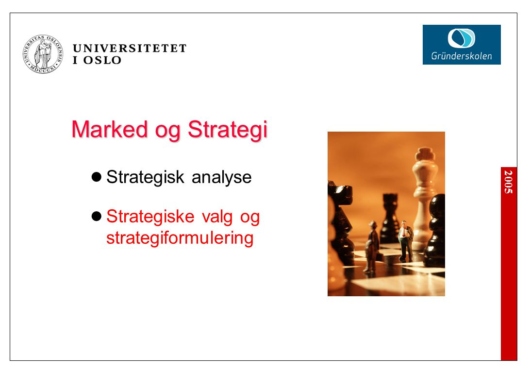 2005 Marked og Strategi Strategisk analyse Strategiske valg og strategiformulering