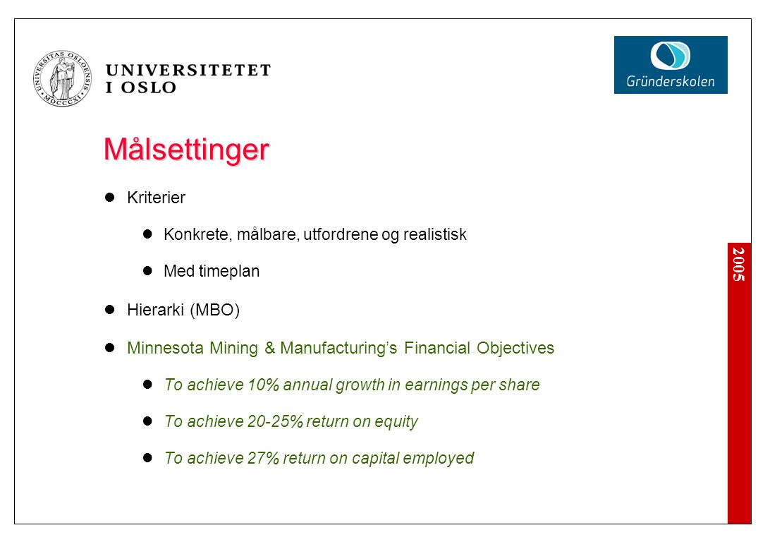 2005 Målsettinger Kriterier Konkrete, målbare, utfordrene og realistisk Med timeplan Hierarki (MBO) Minnesota Mining & Manufacturing's Financial Objectives To achieve 10% annual growth in earnings per share To achieve 20-25% return on equity To achieve 27% return on capital employed
