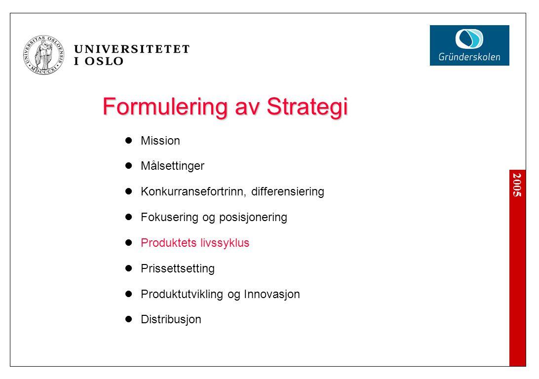 2005 Formulering av Strategi Mission Målsettinger Konkurransefortrinn, differensiering Fokusering og posisjonering Produktets livssyklus Prissettsetti