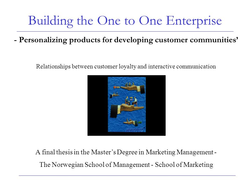 Building the One to One Enterprise - Personalizing products for developing customer communities' Relationships between customer loyalty and interactiv