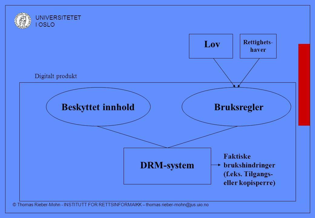 © Thomas Rieber-Mohn - INSTITUTT FOR RETTSINFORMAIKK – thomas.rieber-mohn@jus.uio.no UNIVERSITETET I OSLO Rettighets- haver Lov Beskyttet innholdBruksregler DRM-system Faktiske brukshindringer (f.eks.