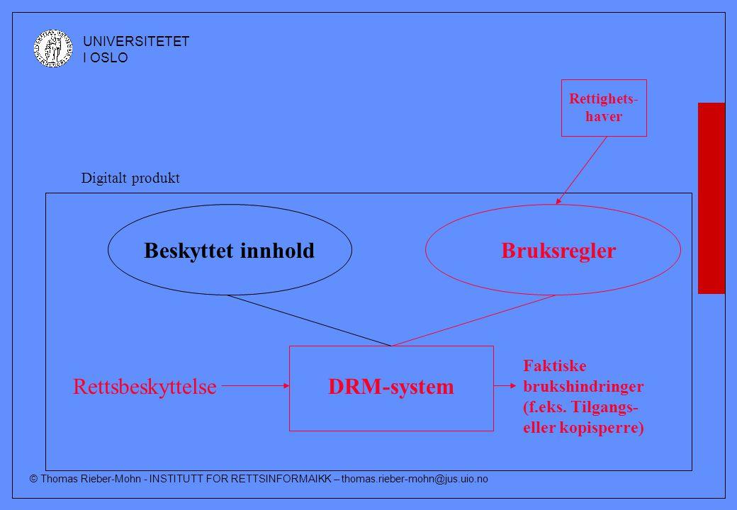 © Thomas Rieber-Mohn - INSTITUTT FOR RETTSINFORMAIKK – thomas.rieber-mohn@jus.uio.no UNIVERSITETET I OSLO Rettighets- haver Beskyttet innholdBruksregler DRM-system Faktiske brukshindringer (f.eks.