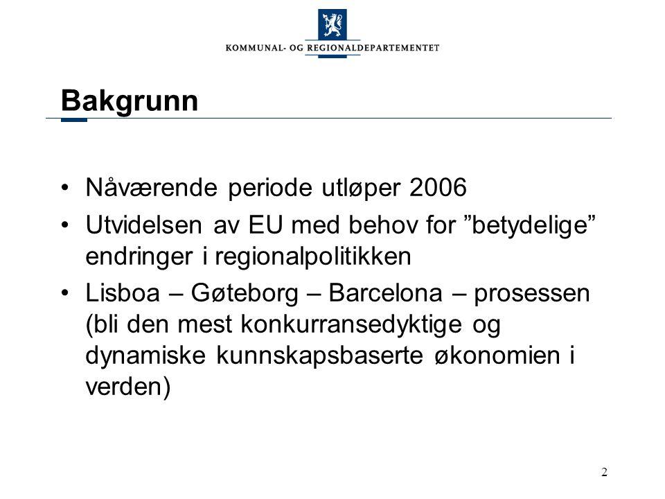 2 Bakgrunn Nåværende periode utløper 2006 Utvidelsen av EU med behov for betydelige endringer i regionalpolitikken Lisboa – Gøteborg – Barcelona – prosessen (bli den mest konkurransedyktige og dynamiske kunnskapsbaserte økonomien i verden)