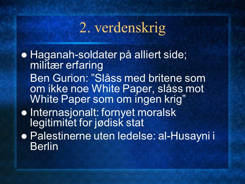 """2. verdenskrig Haganah-soldater på alliert side; militær erfaring Ben Gurion: """"Slåss med britene som om ikke noe White Paper, slåss mot White Paper so"""