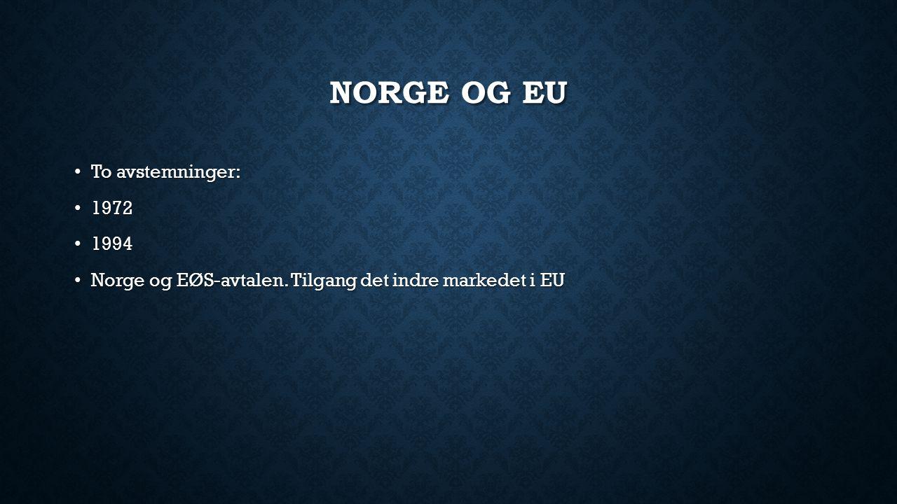 NORGE OG EU To avstemninger: To avstemninger: 1972 1972 1994 1994 Norge og EØS-avtalen. Tilgang det indre markedet i EU Norge og EØS-avtalen. Tilgang