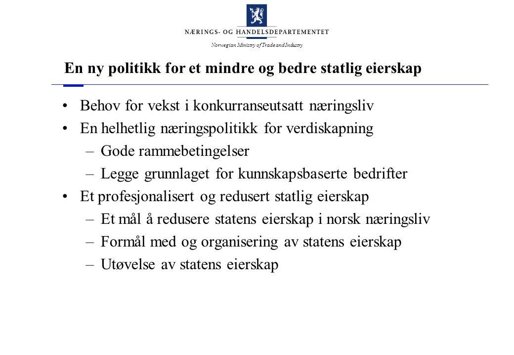 Norwegian Ministry of Trade and Industry En ny politikk for et mindre og bedre statlig eierskap Behov for vekst i konkurranseutsatt næringsliv En helh