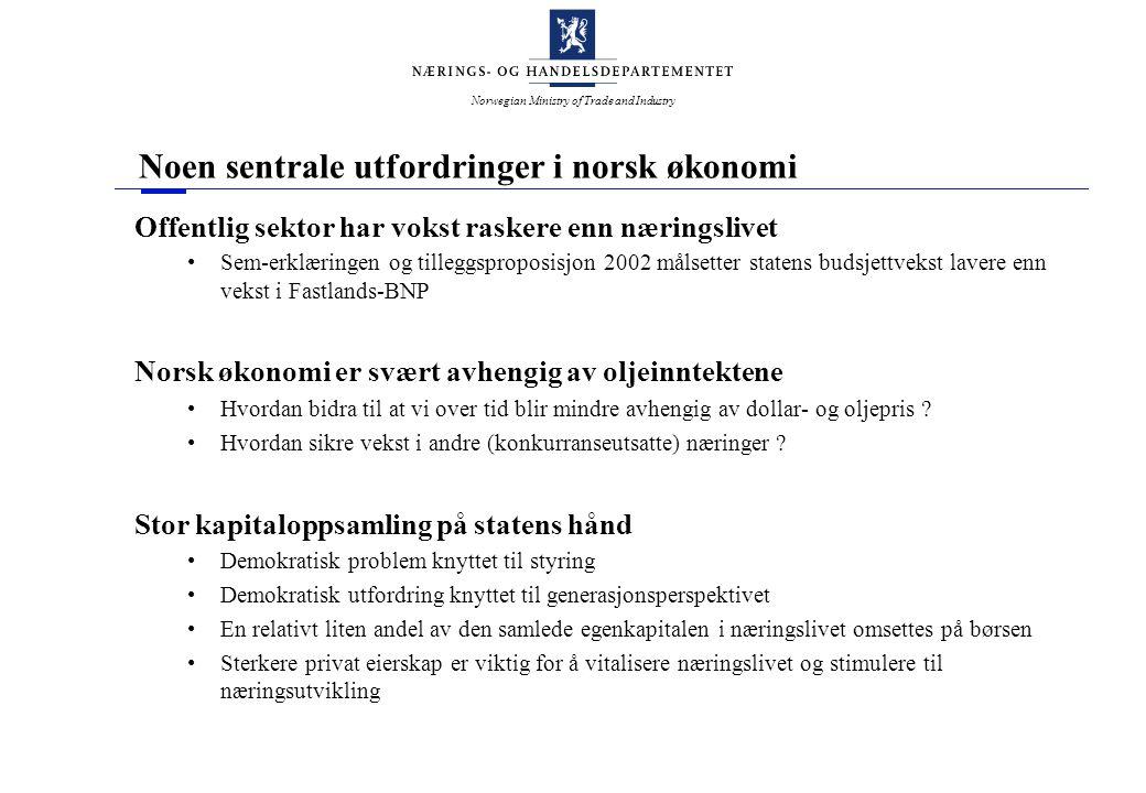 Norwegian Ministry of Trade and Industry Noen sentrale utfordringer i norsk økonomi Offentlig sektor har vokst raskere enn næringslivet Sem-erklæringe