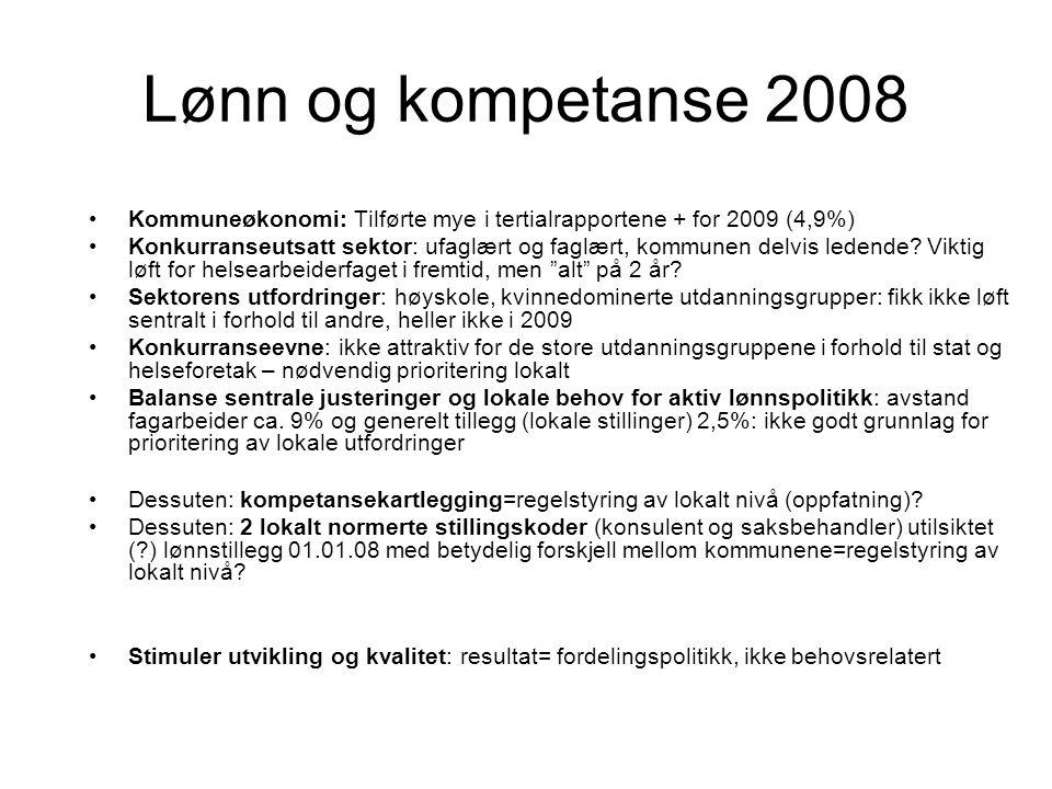 Lønn og kompetanse 2008 Kommuneøkonomi: Tilførte mye i tertialrapportene + for 2009 (4,9%) Konkurranseutsatt sektor: ufaglært og faglært, kommunen delvis ledende.