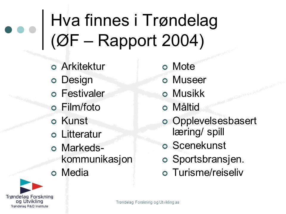 Trøndelag Forskning og Utvikling as Hva finnes i Trøndelag (ØF – Rapport 2004) Arkitektur Design Festivaler Film/foto Kunst Litteratur Markeds- kommun