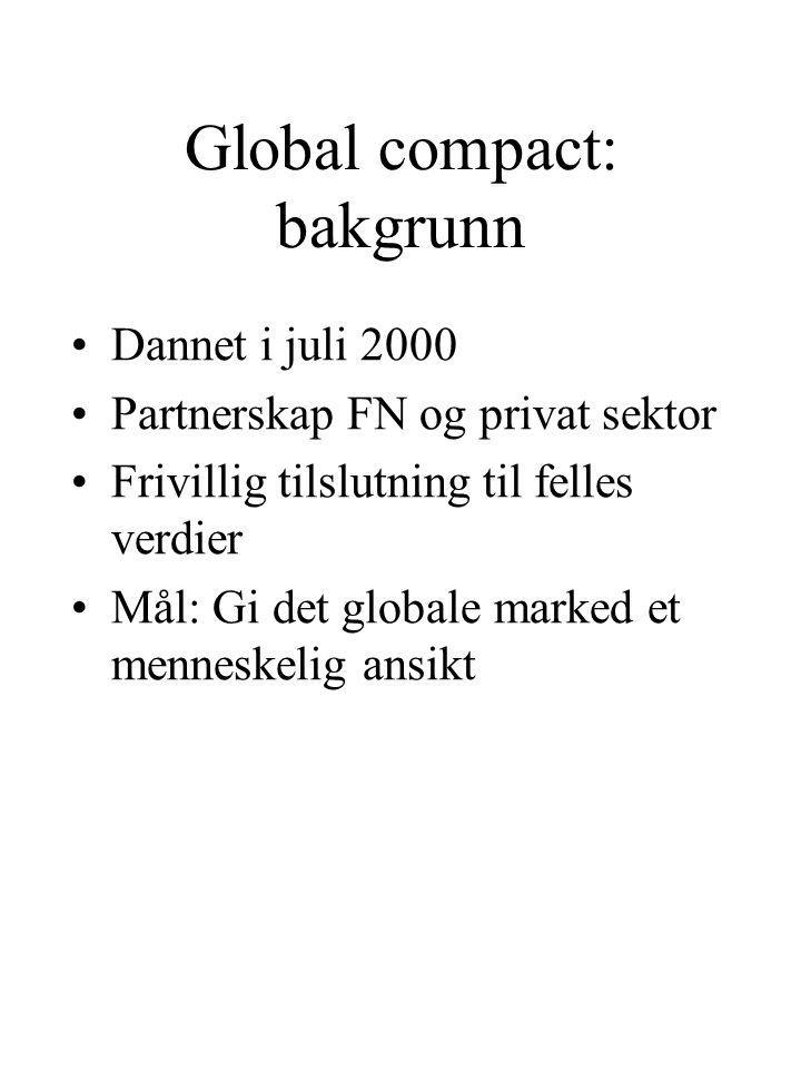 Global compact: bakgrunn Dannet i juli 2000 Partnerskap FN og privat sektor Frivillig tilslutning til felles verdier Mål: Gi det globale marked et menneskelig ansikt