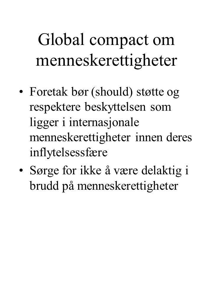 Global compact om menneskerettigheter Foretak bør (should) støtte og respektere beskyttelsen som ligger i internasjonale menneskerettigheter innen deres inflytelsessfære Sørge for ikke å være delaktig i brudd på menneskerettigheter