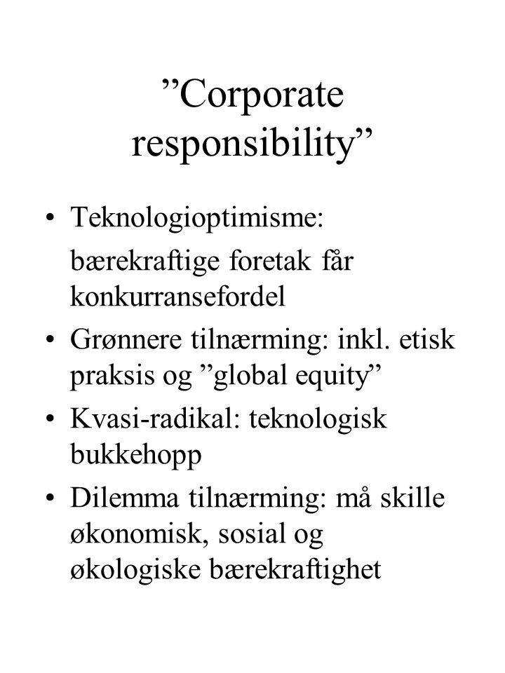 Corporate responsibility Teknologioptimisme: bærekraftige foretak får konkurransefordel Grønnere tilnærming: inkl.