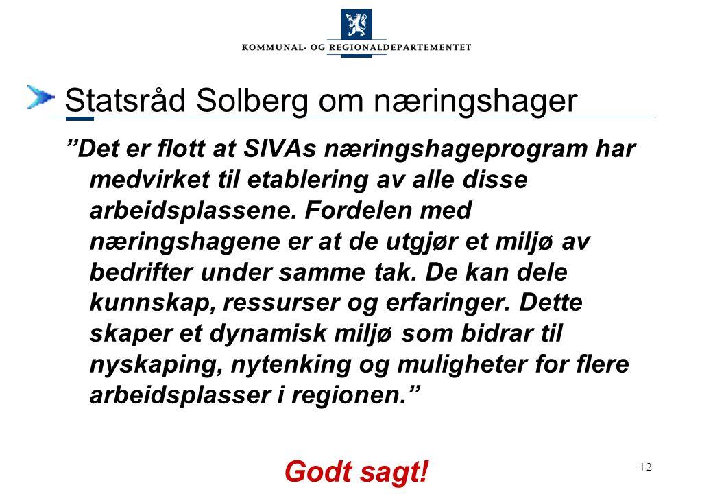 12 Statsråd Solberg om næringshager Det er flott at SIVAs næringshageprogram har medvirket til etablering av alle disse arbeidsplassene.