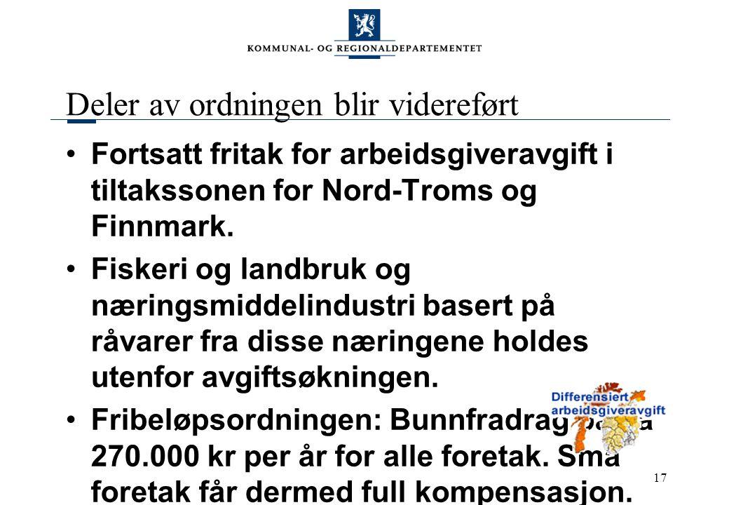 17 Deler av ordningen blir videreført Fortsatt fritak for arbeidsgiveravgift i tiltakssonen for Nord-Troms og Finnmark. Fiskeri og landbruk og nærings