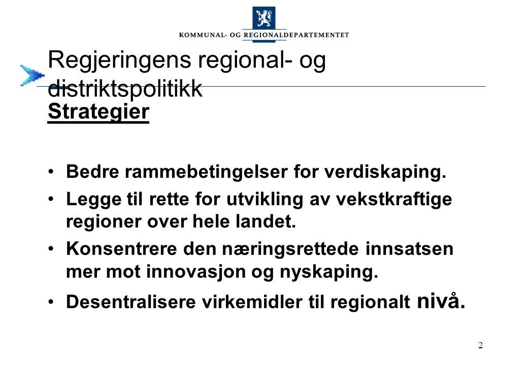 2 Regjeringens regional- og distriktspolitikk Strategier Bedre rammebetingelser for verdiskaping. Legge til rette for utvikling av vekstkraftige regio