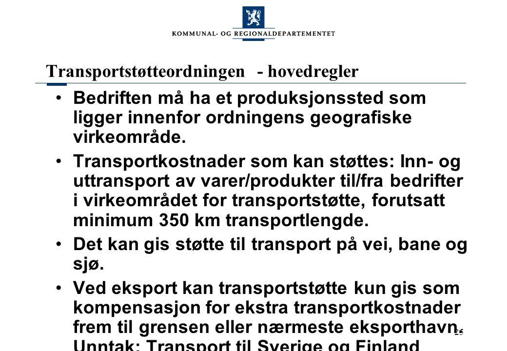 25 Transportstøtteordningen - hovedregler Bedriften må ha et produksjonssted som ligger innenfor ordningens geografiske virkeområde. Transportkostnade