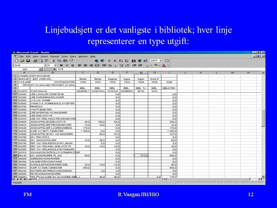 FMR.Vaagan JBI/HiO12 Linjebudsjett er det vanligste i bibliotek; hver linje representerer en type utgift: