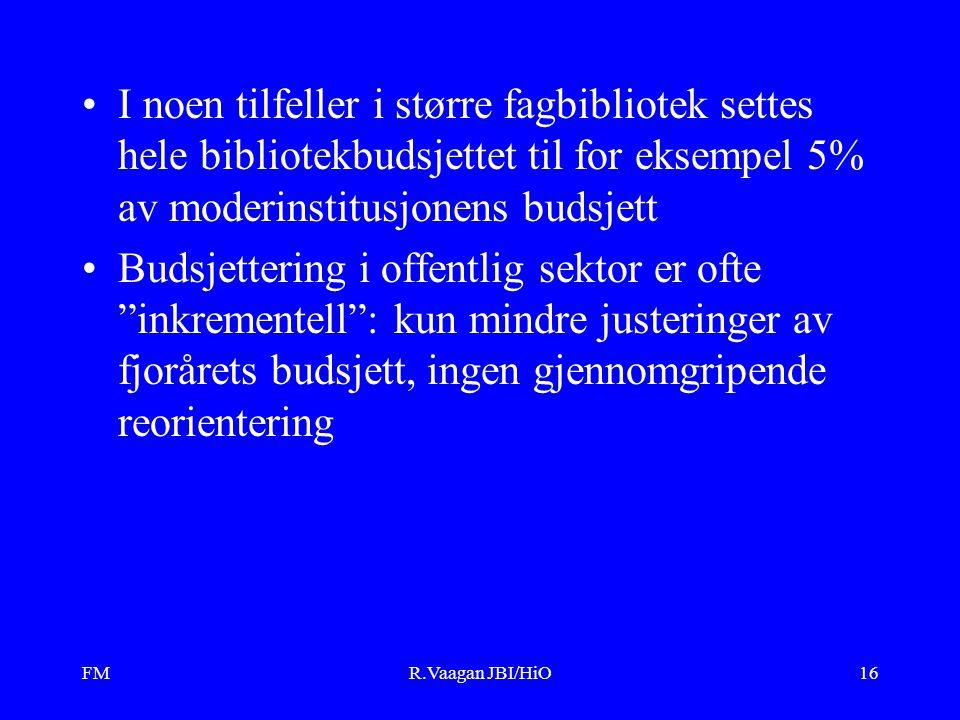 FMR.Vaagan JBI/HiO16 I noen tilfeller i større fagbibliotek settes hele bibliotekbudsjettet til for eksempel 5% av moderinstitusjonens budsjett Budsje