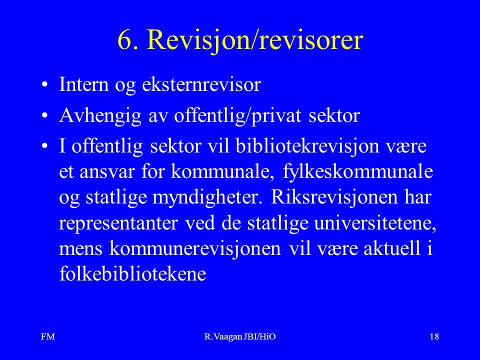 FMR.Vaagan JBI/HiO18 6. Revisjon/revisorer Intern og eksternrevisor Avhengig av offentlig/privat sektor I offentlig sektor vil bibliotekrevisjon være