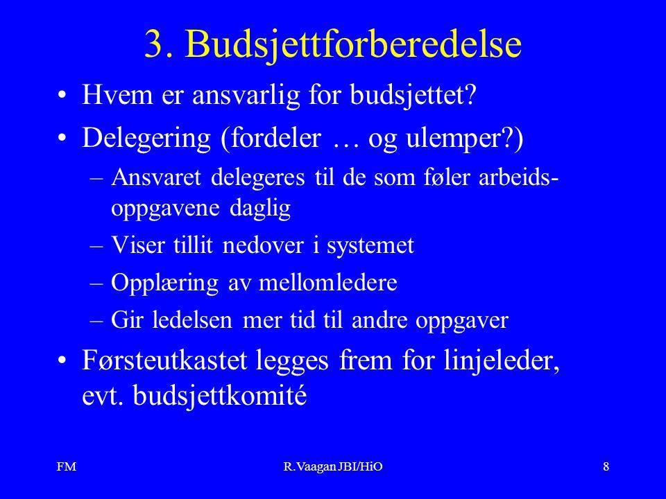 FMR.Vaagan JBI/HiO8 3. Budsjettforberedelse Hvem er ansvarlig for budsjettet? Delegering (fordeler … og ulemper?) –Ansvaret delegeres til de som føler
