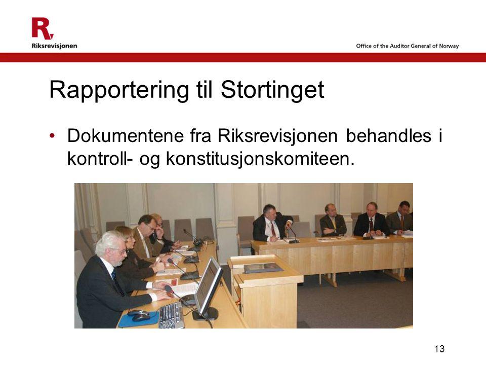 13 Dokumentene fra Riksrevisjonen behandles i kontroll- og konstitusjonskomiteen. Rapportering til Stortinget
