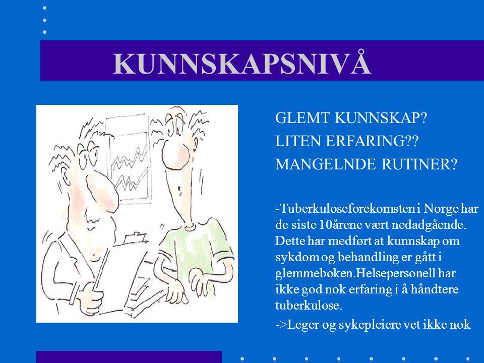 KUNNSKAPSNIVÅ GLEMT KUNNSKAP.LITEN ERFARING?. MANGELNDE RUTINER.
