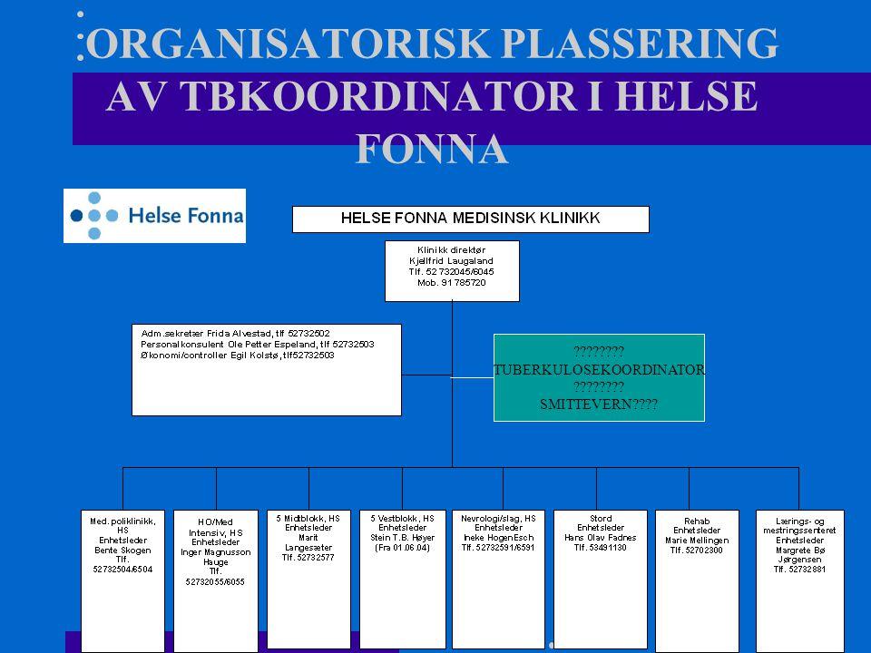 ORGANISATORISK PLASSERING AV TBKOORDINATOR I HELSE FONNA ???????.