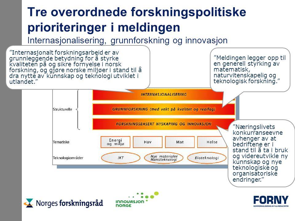 """Tre overordnede forskningspolitiske prioriteringer i meldingen Internasjonalisering, grunnforskning og innovasjon """"Internasjonalt forskningsarbeid er"""