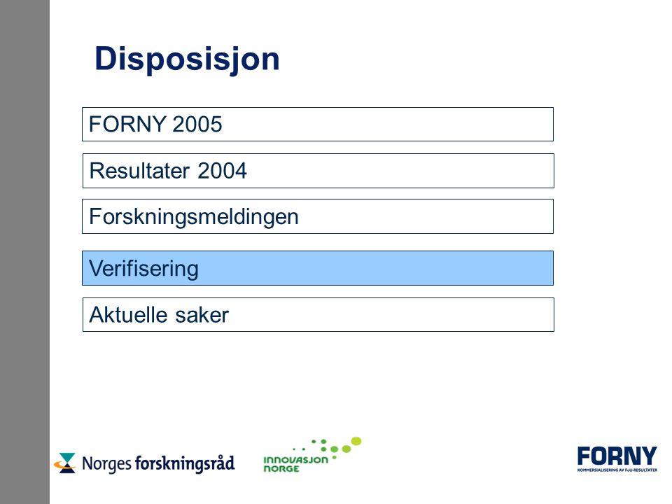 Disposisjon Resultater 2004 Forskningsmeldingen Verifisering Aktuelle saker FORNY 2005