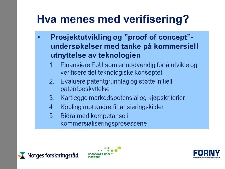 """Hva menes med verifisering? Prosjektutvikling og """"proof of concept""""- undersøkelser med tanke på kommersiell utnyttelse av teknologien 1.Finansiere FoU"""