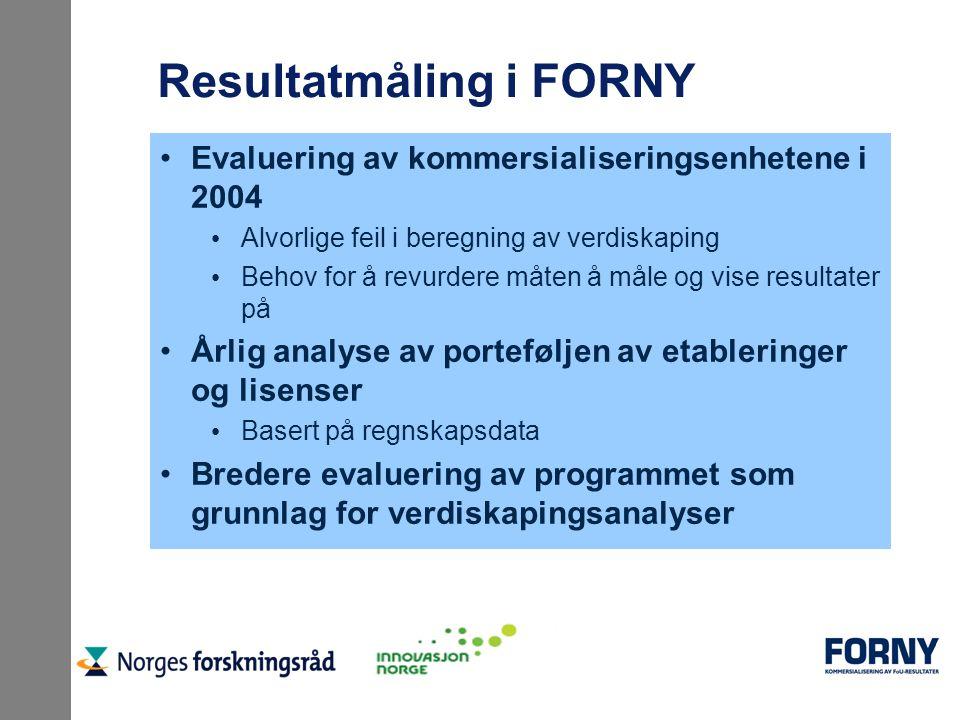 Resultatmåling i FORNY Evaluering av kommersialiseringsenhetene i 2004 Alvorlige feil i beregning av verdiskaping Behov for å revurdere måten å måle o