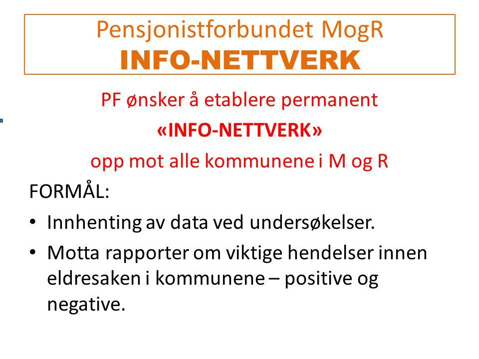 Pensjonistforbundet MogR INFO-NETTVERK PF ønsker å etablere permanent «INFO-NETTVERK» opp mot alle kommunene i M og R FORMÅL: Innhenting av data ved undersøkelser.